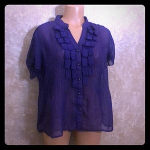 Tops - Purple sheer short sleeve ruffle button blouse